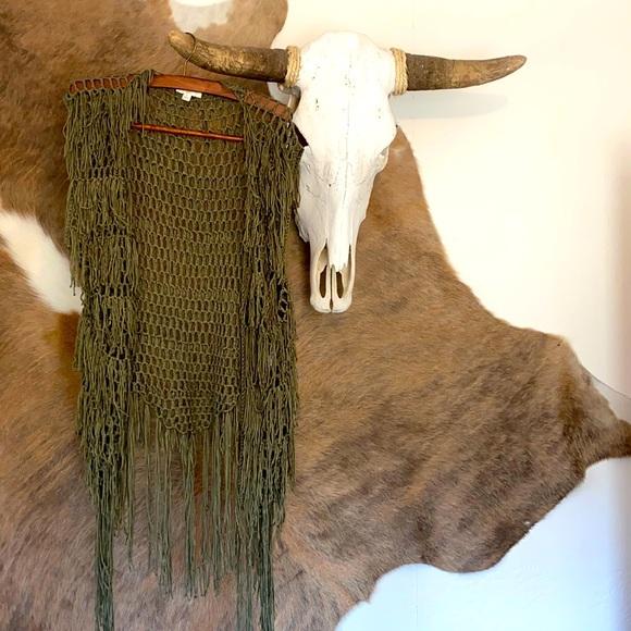 Olive Boho Fishnet Fringe Vest